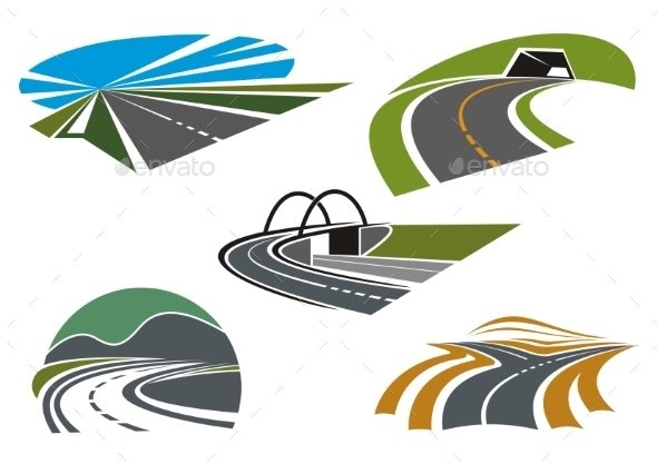 Asphalt Highways And Roads Abstract Icons - Travel Conceptual