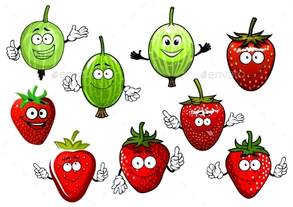Cartoon Strawberry And Gooseberry Fruits - Food Objects