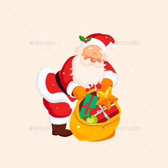 Santa Claus Holding a Sack With Toys. Vector - New Year Seasons/Holidays