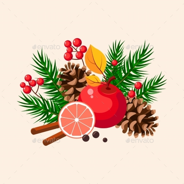 Christmas Design With Fir, Grapefruit, Berries - New Year Seasons/Holidays