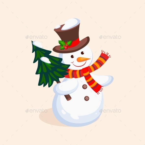 Cheerful Snowman Holding a Christmas Tree. Vector - New Year Seasons/Holidays