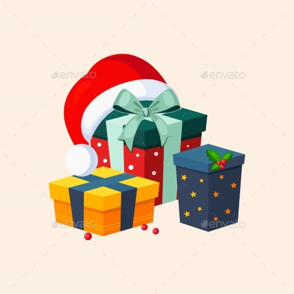 Christmas Presents And Hat. Vector Illustration. - New Year Seasons/Holidays