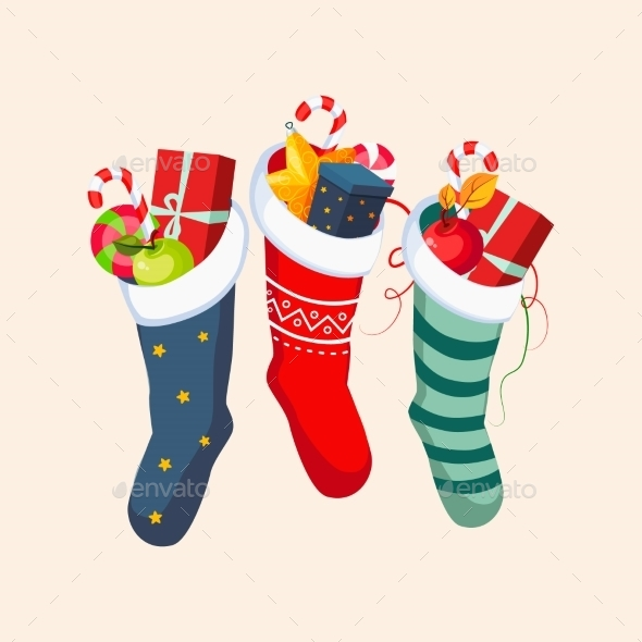 Christmas Socks With Presents. Vector Illustration - New Year Seasons/Holidays
