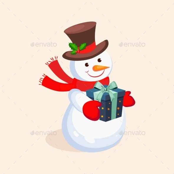 Cheerful Snowman Holding a Present. Vector - New Year Seasons/Holidays