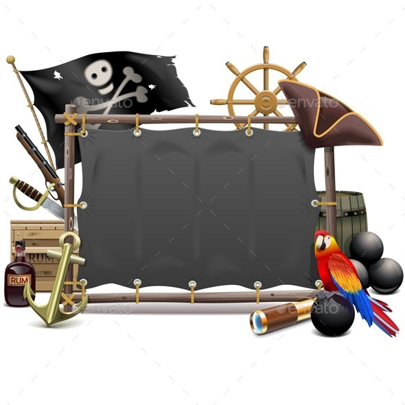 Vector Pirate Frame with Sail - Travel Conceptual