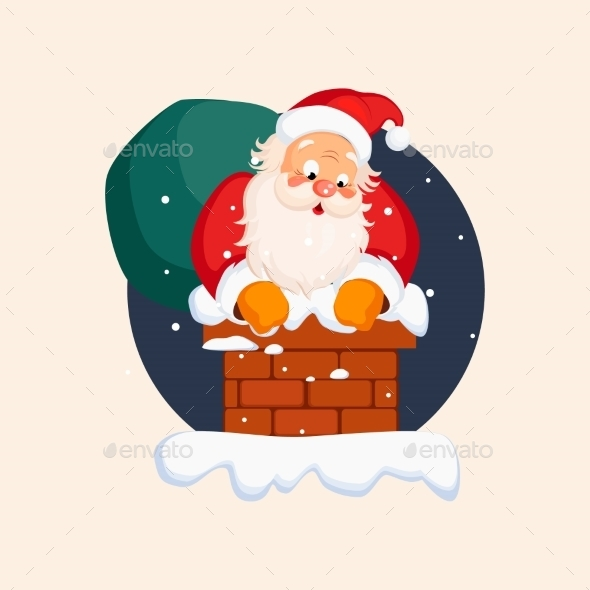 Santa Claus In Chimney On Christmas Eve. Vector - New Year Seasons/Holidays