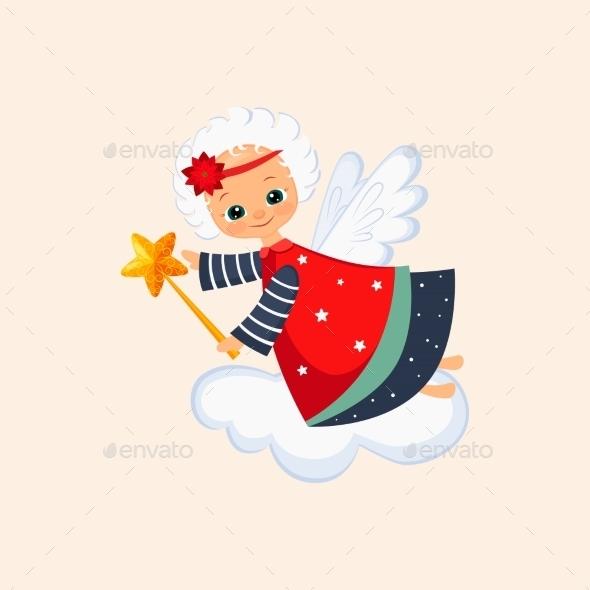 Christmas Angel With a Magic Wand. Vector - New Year Seasons/Holidays