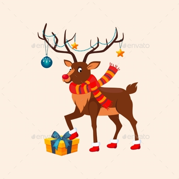 Deer With a Christmas Garland On The Horns. Vector - New Year Seasons/Holidays