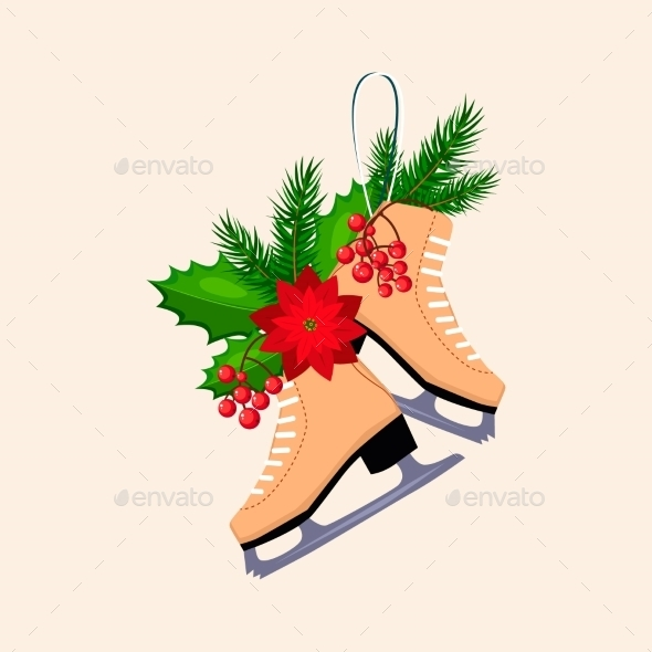 Christmas Skates With Fir, Berries And Poinsettia - New Year Seasons/Holidays