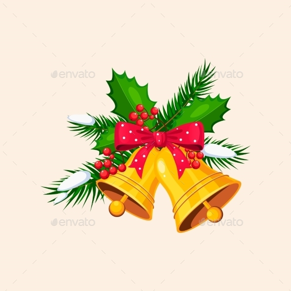 Christmas Bells With Bow And Berries. Vector - New Year Seasons/Holidays