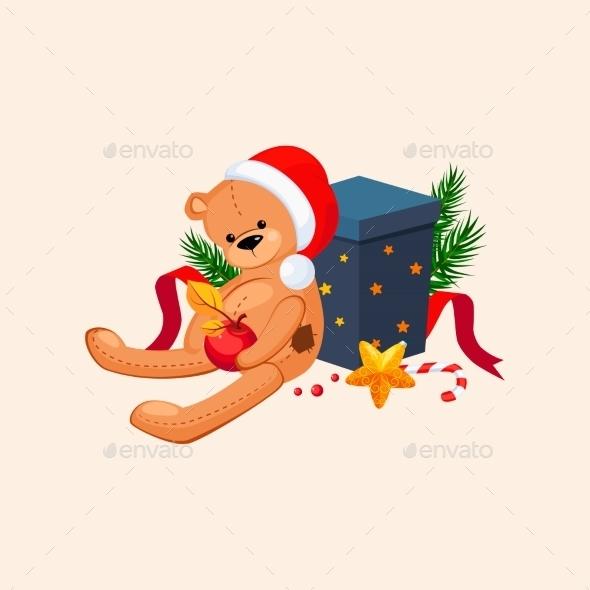 Cute Teddy Bear In a Christmas Hat Sitting  - New Year Seasons/Holidays