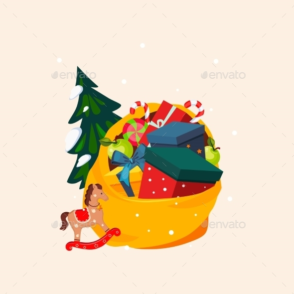 Toy Bag Full Of Gifts And Christmas Tree. Vector - New Year Seasons/Holidays