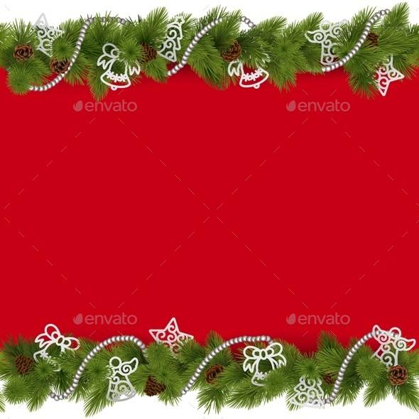 Vector Christmas Border with Beads - Christmas Seasons/Holidays