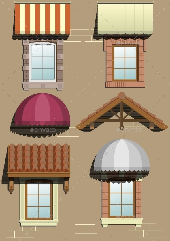 Set Of Different Shelters. - Buildings Objects