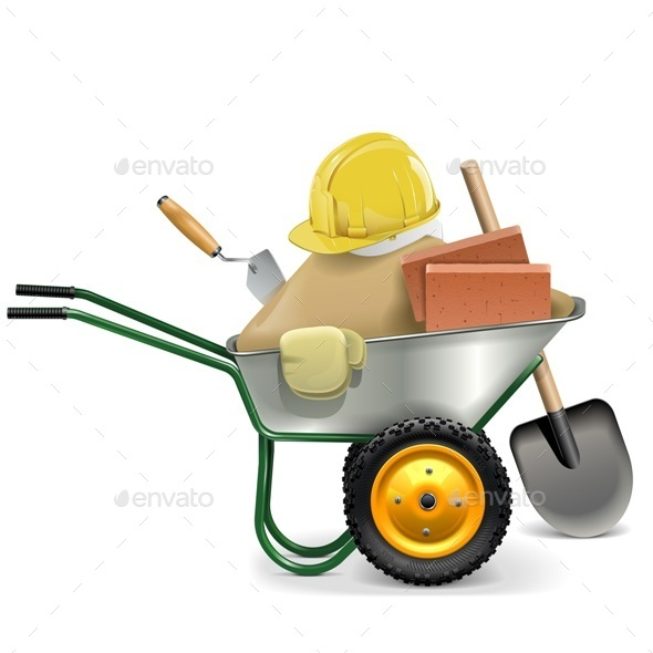 Vector Construction Concept with Wheelbarrow - Industries Business