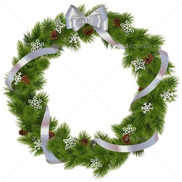 Vector Christmas Wreath with Snowflakes - Christmas Seasons/Holidays