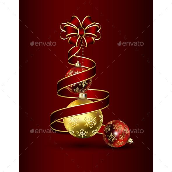 Ribbon and Christmas Baubles - Christmas Seasons/Holidays