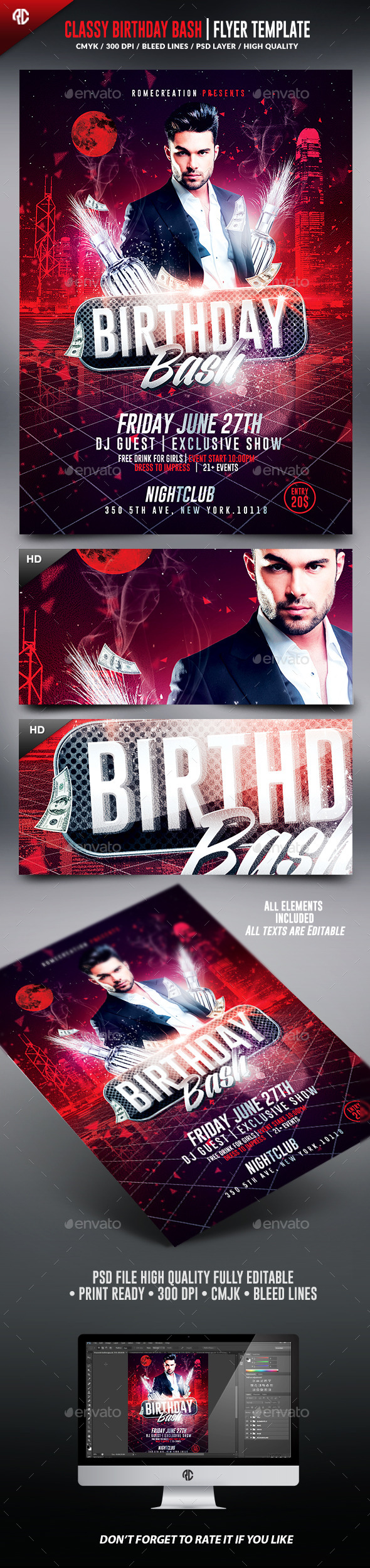 Birthday Bash | Classy Flyer Template  - Clubs & Parties Events