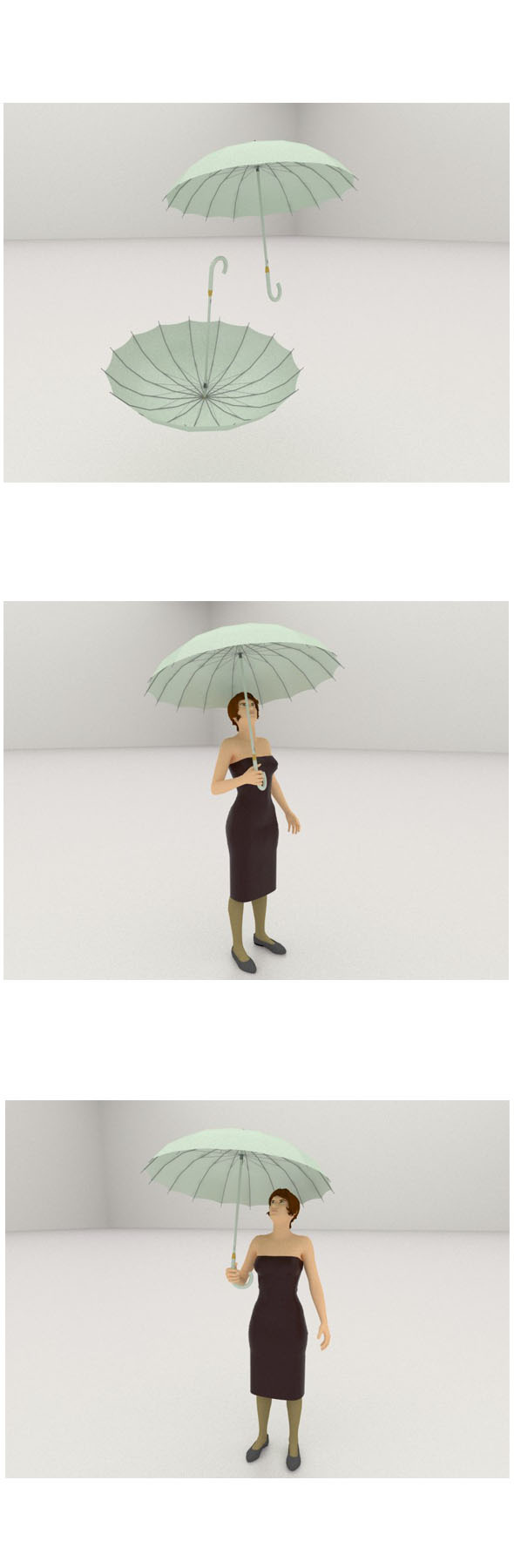 3D woman with umbrella - 3DOcean Item for Sale