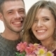 Couple In An Embrace Holding a Bouquet Of Flowers - VideoHive Item for Sale