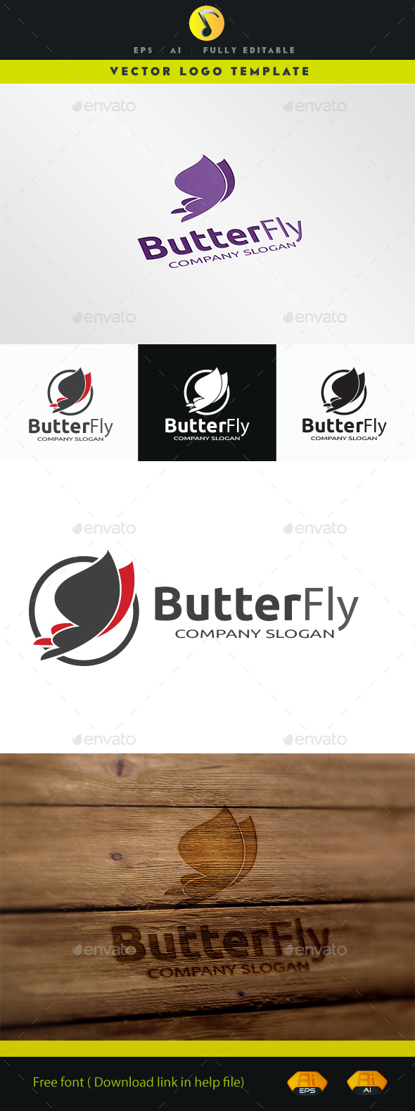 Butterfly I - Animals Logo Templates