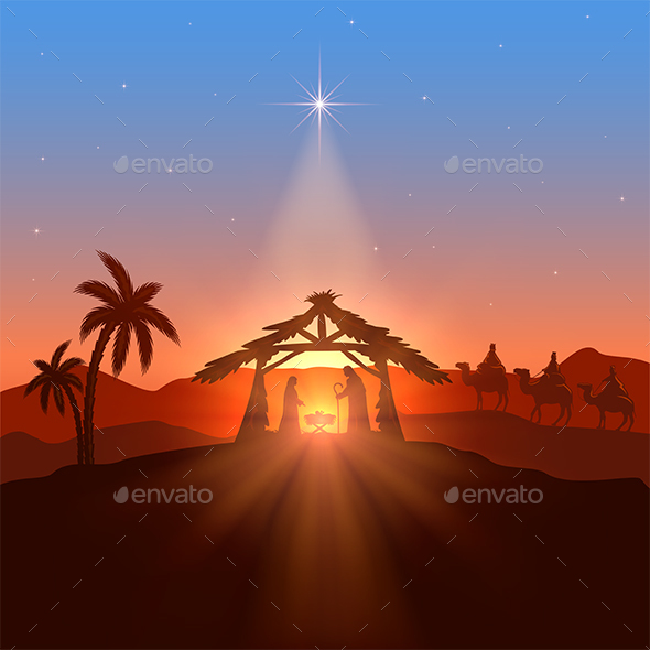 Christian Theme with Christmas Star - Christmas Seasons/Holidays