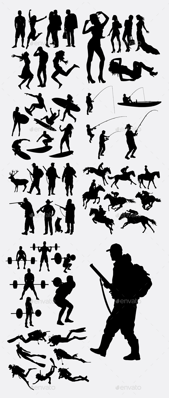Male and Female People Silhouettes - People Characters