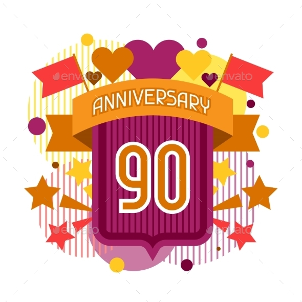 Anniversary Abstract Background With Ribbon - Birthdays Seasons/Holidays