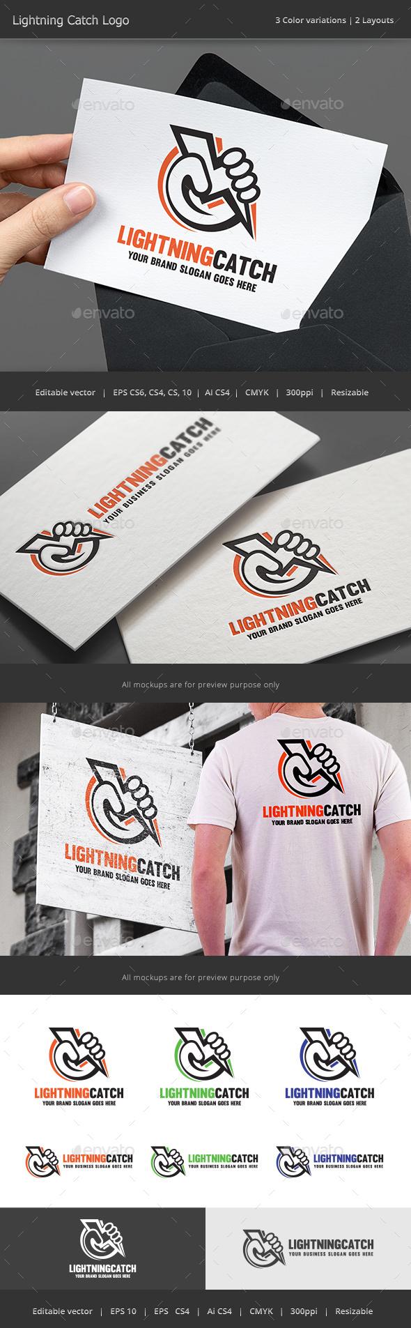 Lightning Catch Logo - Vector Abstract