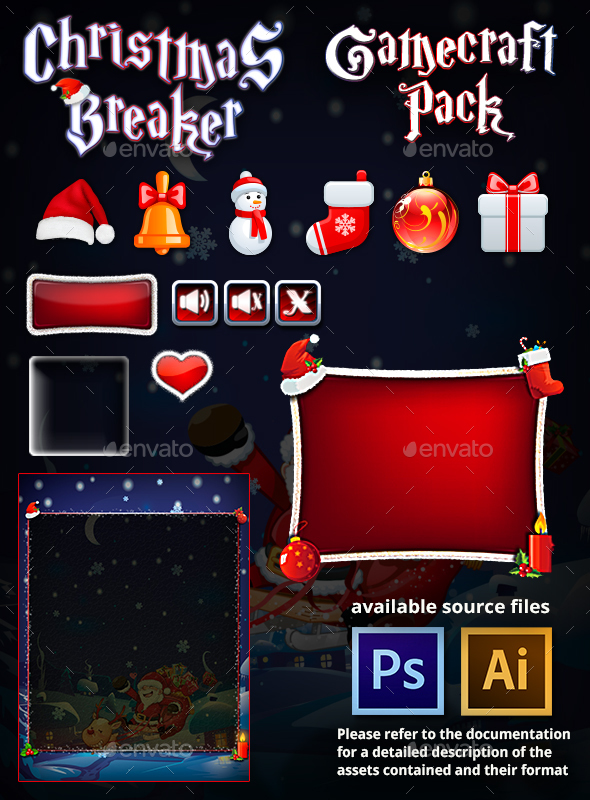 Christmas Breaker Game Assets - User Interfaces Game Assets