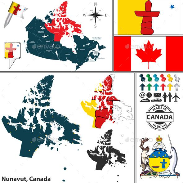 Map of Nunavut, Canada - Travel Conceptual