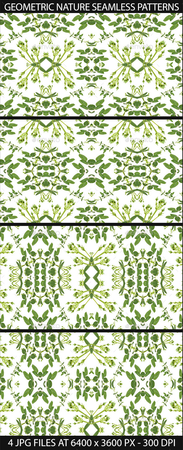4 Modern Nature Geometric Seamless Patterns - Patterns Decorative