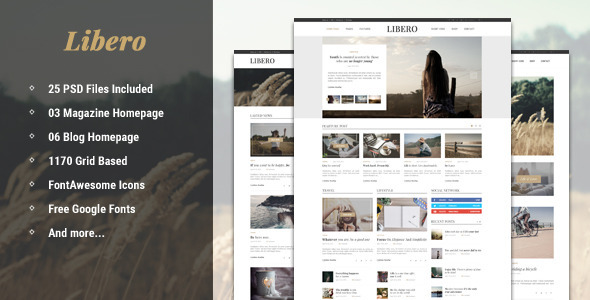 Libero – Blog & Magazine PSD Template