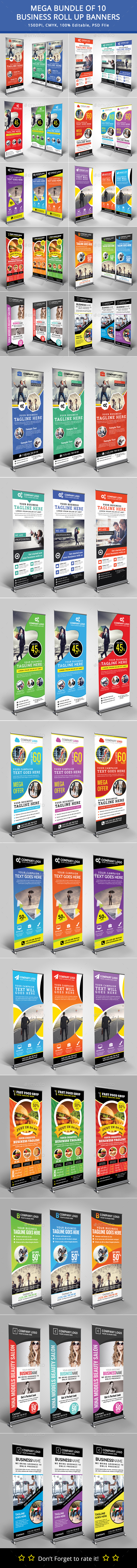 Bundle of 10 Business Roll Up Banners - Signage Print Templates