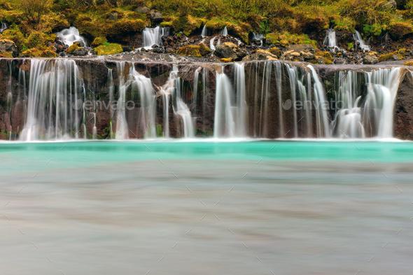 The beautiful Hraunfossar, Iceland  - Stock Photo - Images