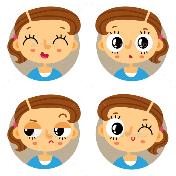 Set of Young Girl Emotion Badges - People Characters