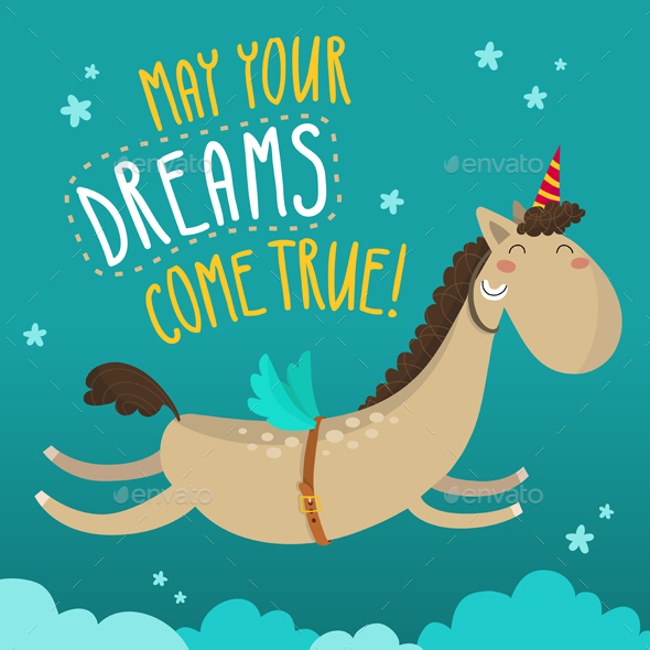 Dreamy Horse Greeting Card Design - Miscellaneous Vectors