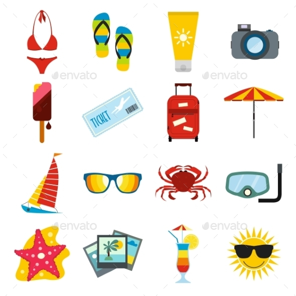 Summertime Icons Set - Travel Conceptual