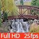 Waterfall Cascade Under Bridge in Autumn Park  - VideoHive Item for Sale
