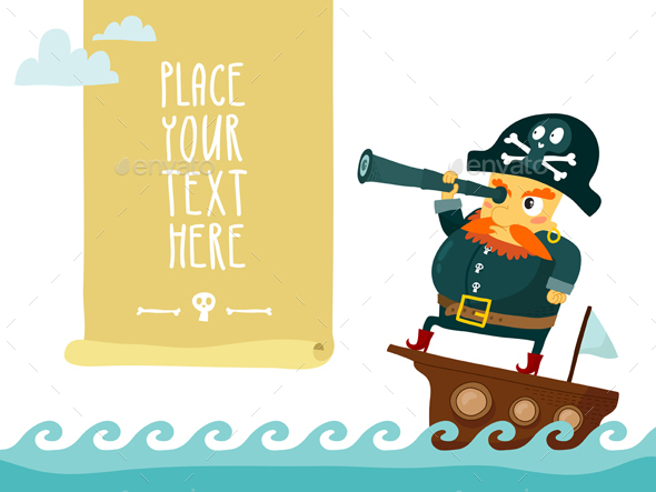 Cartoon Pirate with Spyglass - People Characters