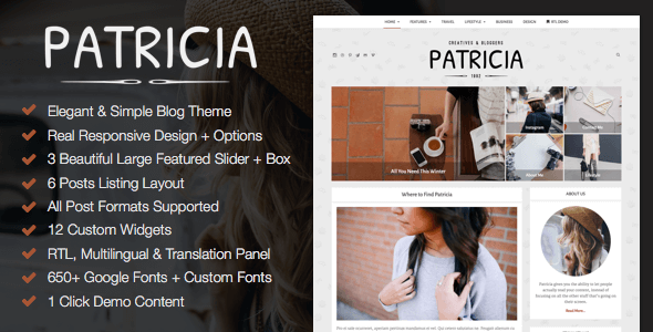 Patricia – Feature Rich WordPress Blog Theme