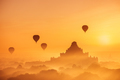 Ancient Buddhist Temples of Bagan Kingdom at sunrise. Myanmar - PhotoDune Item for Sale
