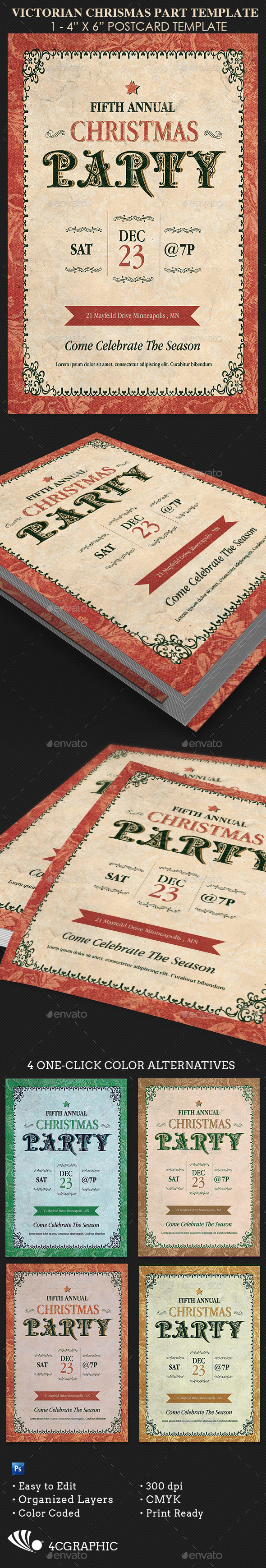 Victorian Christmas Party  Flyer - Events Flyers
