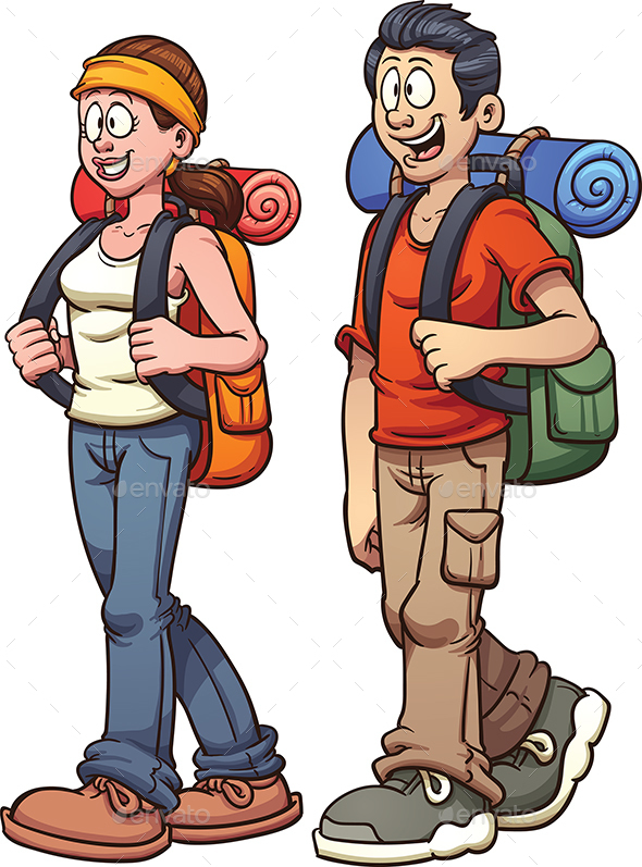 hiker couple by memoangeles graphicriver rh graphicriver net cartoon hiker cartoon hacker