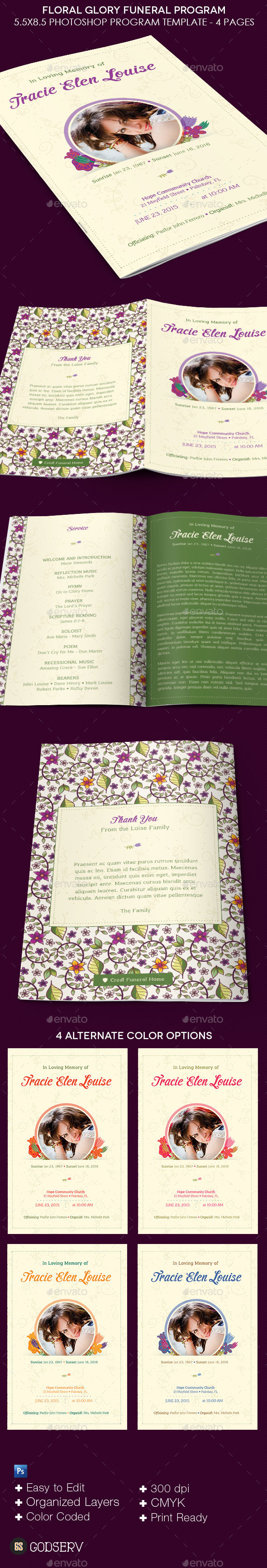 Floral Glory Funeral Program Template - Informational Brochures