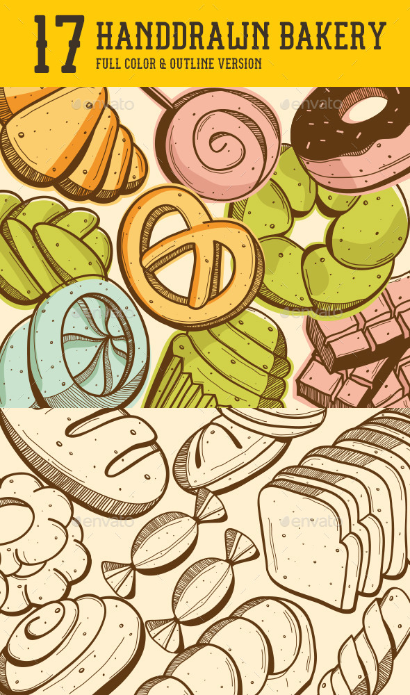 Handdrawn Bakery - Food Objects