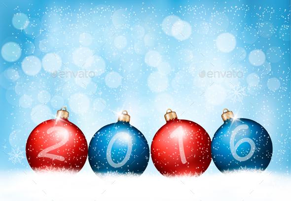 Christmas Background With Balls Vector - Christmas Seasons/Holidays