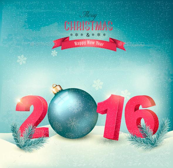 Christmas Background with Ball - Christmas Seasons/Holidays