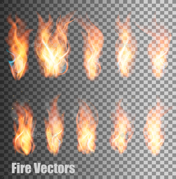 Fire on Transparent Background Vector - Organic Objects Objects