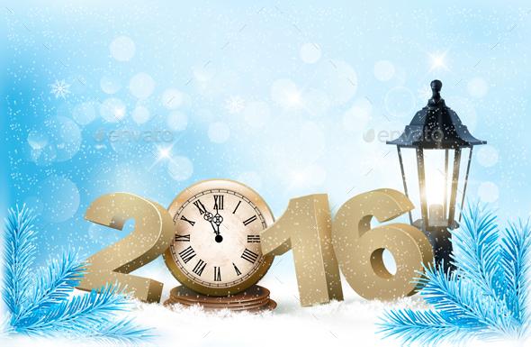 Holiday Christmas Background with A Clock Vector - Christmas Seasons/Holidays